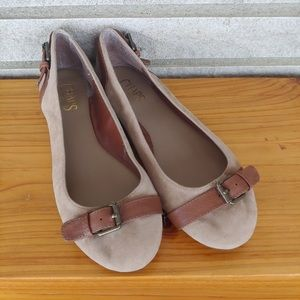 Chaps Tan Suede Flats with Accent Leather Straps